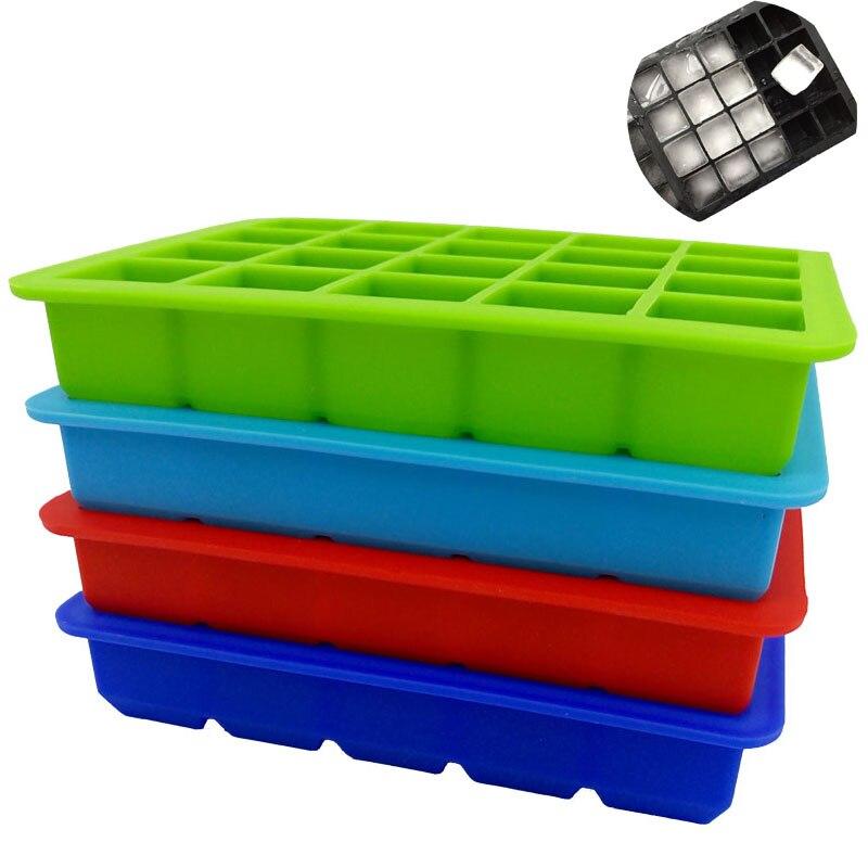 1 piezas 20 cavidad cuadrada cubo de hielo de silicona del molde de hielo cuadrado en forma de cubo de hielo bandeja de silicona forma de cubo moldes herramientas de cocina