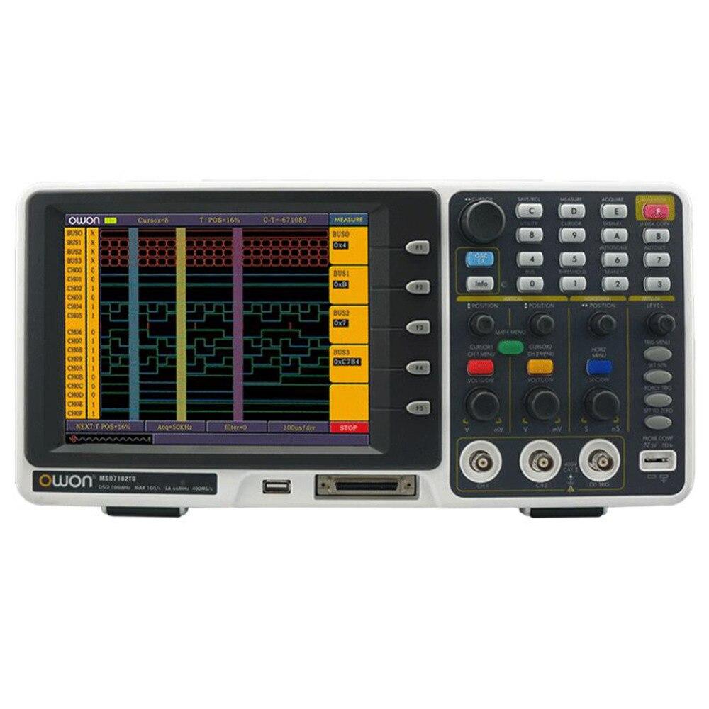 Osciloscópio do analisador lógico de owon mso8102t mso 200 mhz 2gs/s 8 lcd a cores fft 1.7