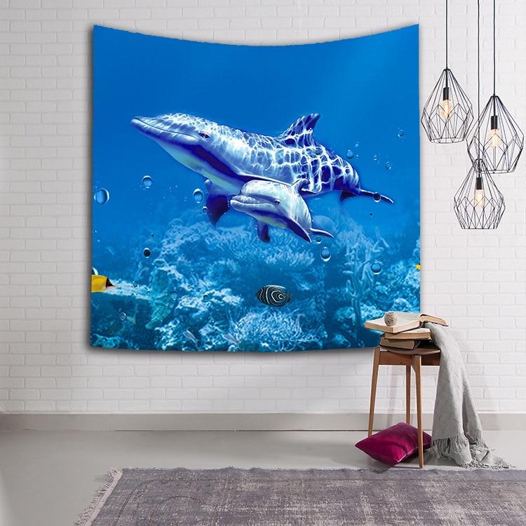 Tapiz de Mandala de delfines, toalla de playa, mantel, manta, paisaje de peces, decoración de pared, tapiz colgante, tapiz, regalos