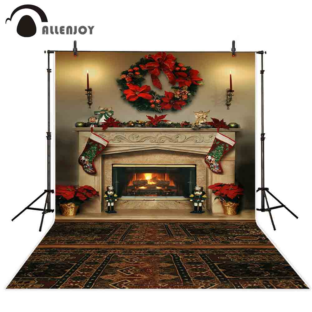 Allenjoy photography backdrop Christmas fireplace wreath carpet background photo studio child family photocall photophone decor