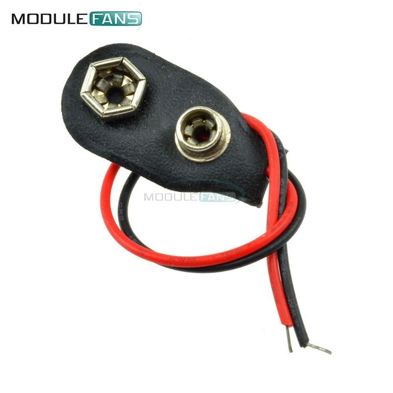 20 piezas Snap en 9V batería sostenedor de la Clip Contor Shell duro 10CM Cable de cuero suave Rojo Negro conectar la línea
