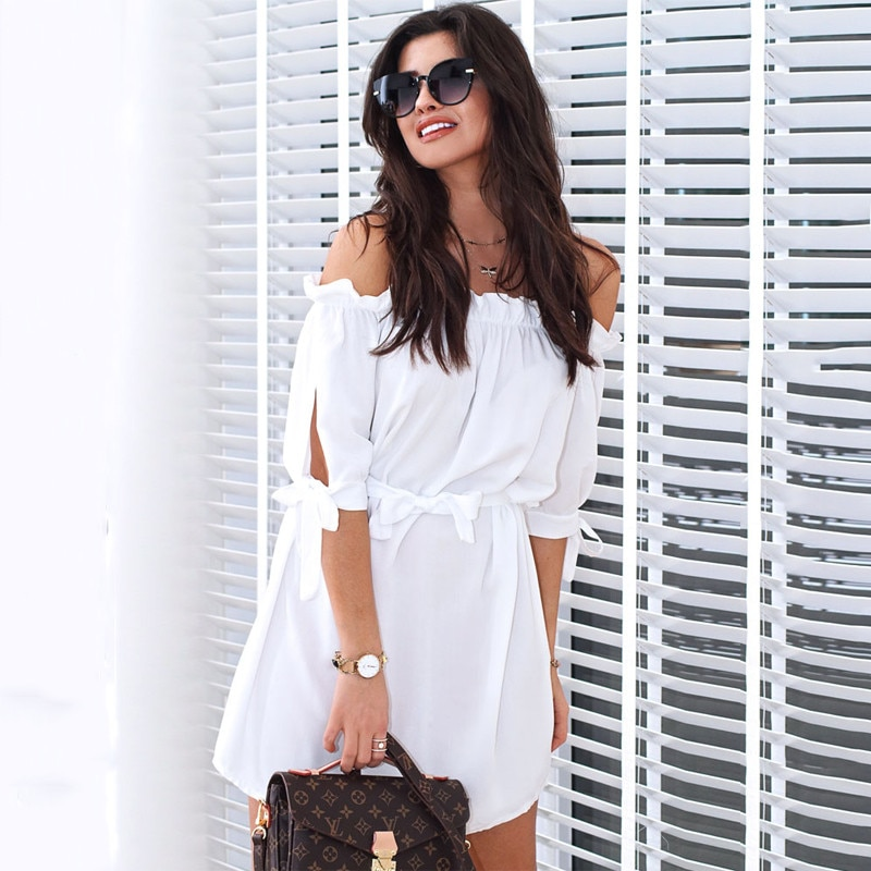 Blue White Orange Half Sleeve Sexy Off Shoulder Dress Women Summer Dress Casual Tunic Shirt Dress Elegant Lace Up Mini Vestidos