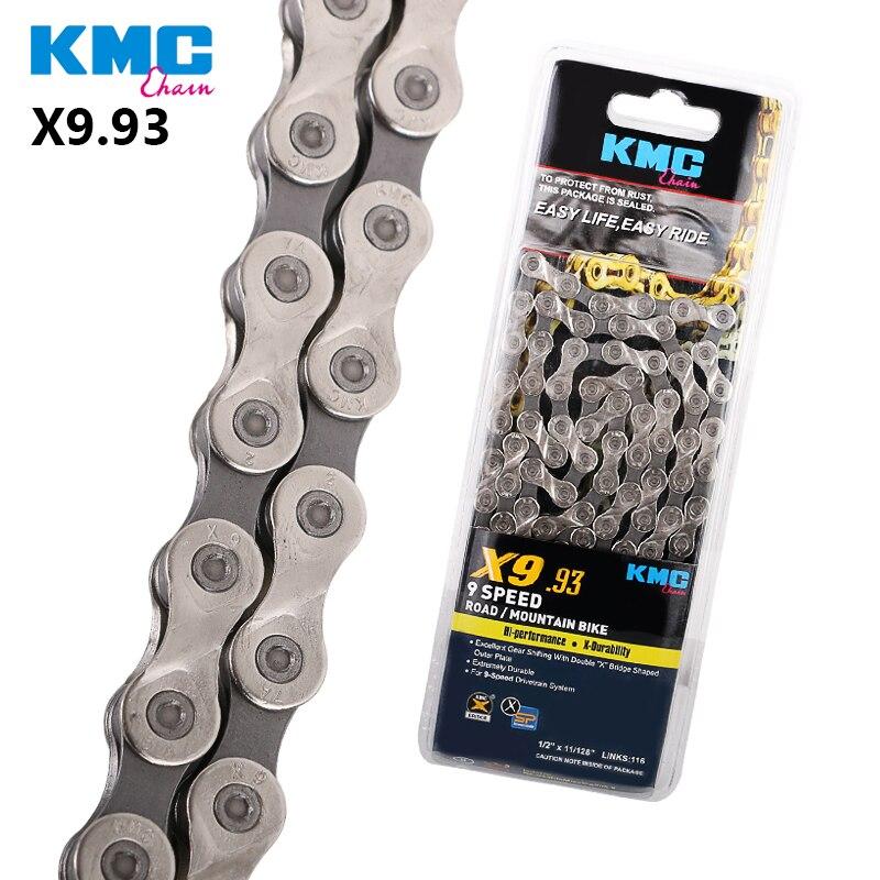 KMC X9.93 doble cadena X 9 velocidades 9 s para bicicleta de carretera mtb contiene piezas de bicicleta de enlace perdido accesorios de ciclismo 116 enlaces