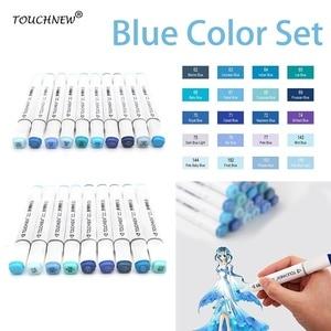 TOUCHNEW 8/20 Colors Blue Colors Artist Dual Headed Marker Set Manga Design School Drawing Sketch Pen Art Supplies