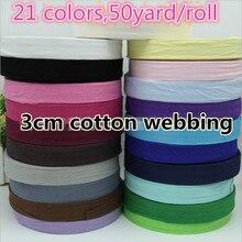 Ruban de couture en sergé à chevrons   21 couleurs, 30mm, sangles de coton, liaison polarisée, livraison gratuite 50yard/rouleau