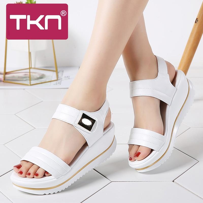 TKN 2019 summer women flat Platform sandals shoes women comfort sandalias ladies white wedge sandals shoes woman sandalie 825