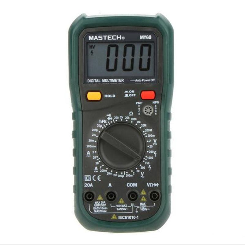 Multímetro Digital MASTECH MY60 DMM AC/DC voltímetro amperímetro ohmímetro probador con multímetro de prueba hFE multímetro amperímetro