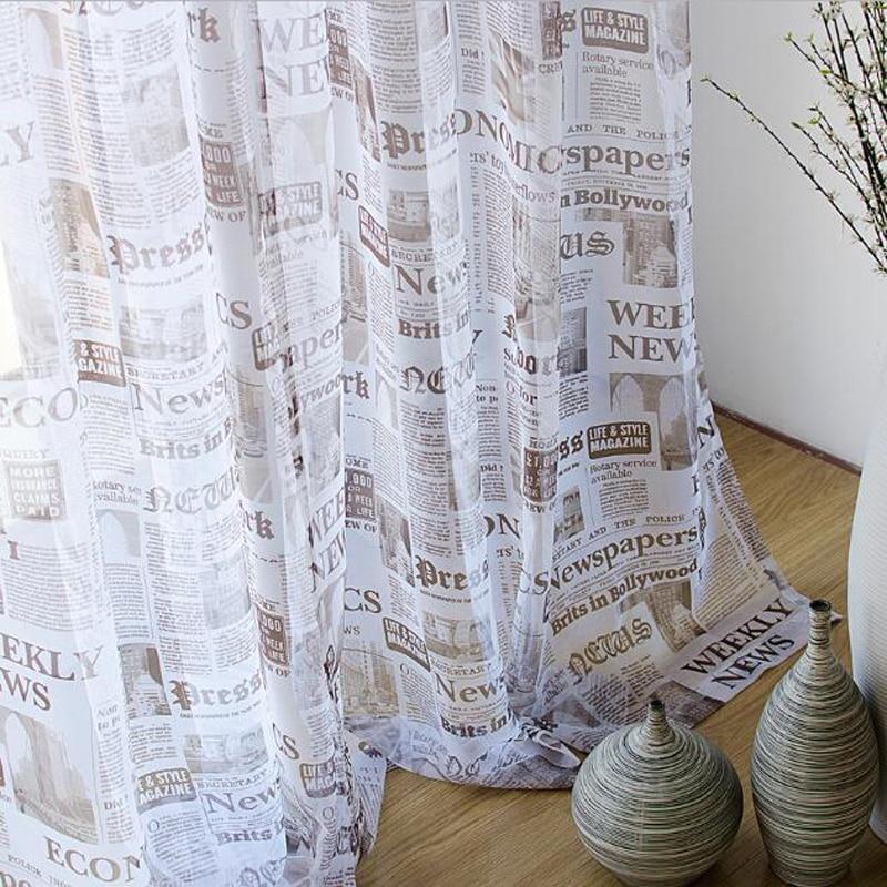 Cortinas impresas de periódico Cortinas opacas Cortinas Para Sala de estar Cortinas Bordadas Para Sala WP227B