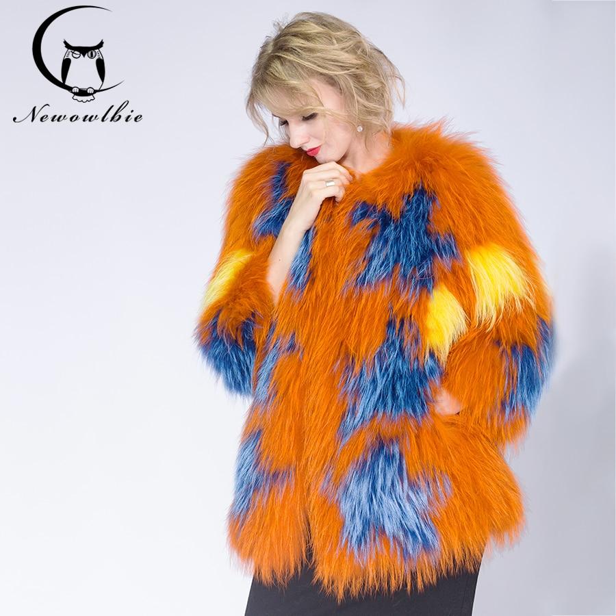 2020 moda de punto chaqueta mujer mapache perro con pelo abrigo oveja marrón claro abrigos de piel corto abrigo de piel auténtica abrigo