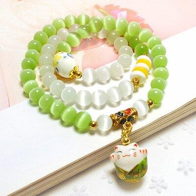 Pulsera de piedra de ojo de gato ópalo verde y blanco Natural, pulsera de cerámica Maneki Neko, bonita pulsera de amistad, envío gratis