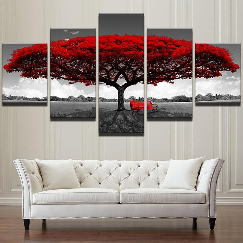 5 piezas lienzo pintura pared arte árbol rojo silla roja verde Árbol amarillo arte de paisaje en lienzo decoración de pared fotos