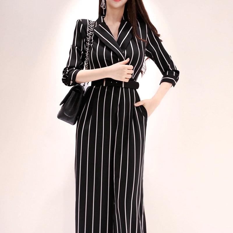 Wide Leg Jumpsuit Overalls 2019 Long Trousers Fashion Women Striped Office Lady Elegant  With Belt plus button front striped wide leg cami jumpsuit