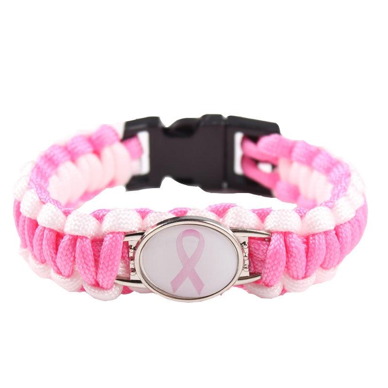 (6 шт./лот) Розовый борец с раком груди, лента, паракордовый браслет для выживания, дружба, Отдых на природе, спорт, ювелирные изделия