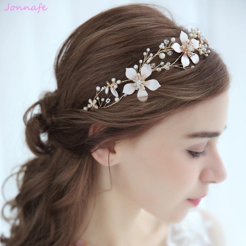 Jonnafe Flor de Oro Boho nupcial pelo vid diadema boda Tiara perlas pelo joyería Mujer Accesorios tocado