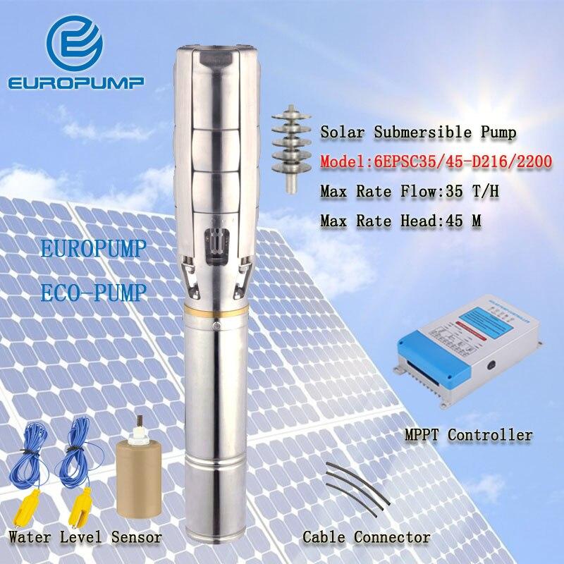 """EUROPUMP modelo (6EPSC35/45-D216/2200) 6 """"3HP DC bomba de agua solar sin escobillas de alta velocidad para riego agrícola bomba de agua solar"""