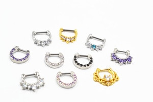 Lot 30pcs 16g~1.2mm Hot Clicker Small Hoop Septum Jewerly CZ Nose Ring body piercing jewelry Mix Styles Stainless Steel