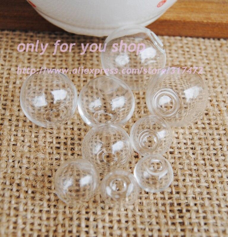 100pcs  Wholesale freeshipping  10/12/14/16/18/20/25mm Glass Bubble  DIY glass vial pendant Glass Wish Jewelry Pendant
