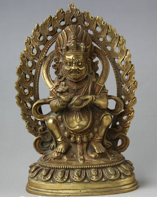 """6 """"El Budismo del Tíbet Bronce Soporte S0705 Iracundo Deidad Mahakala Estatua de Buda de luz de Fondo"""