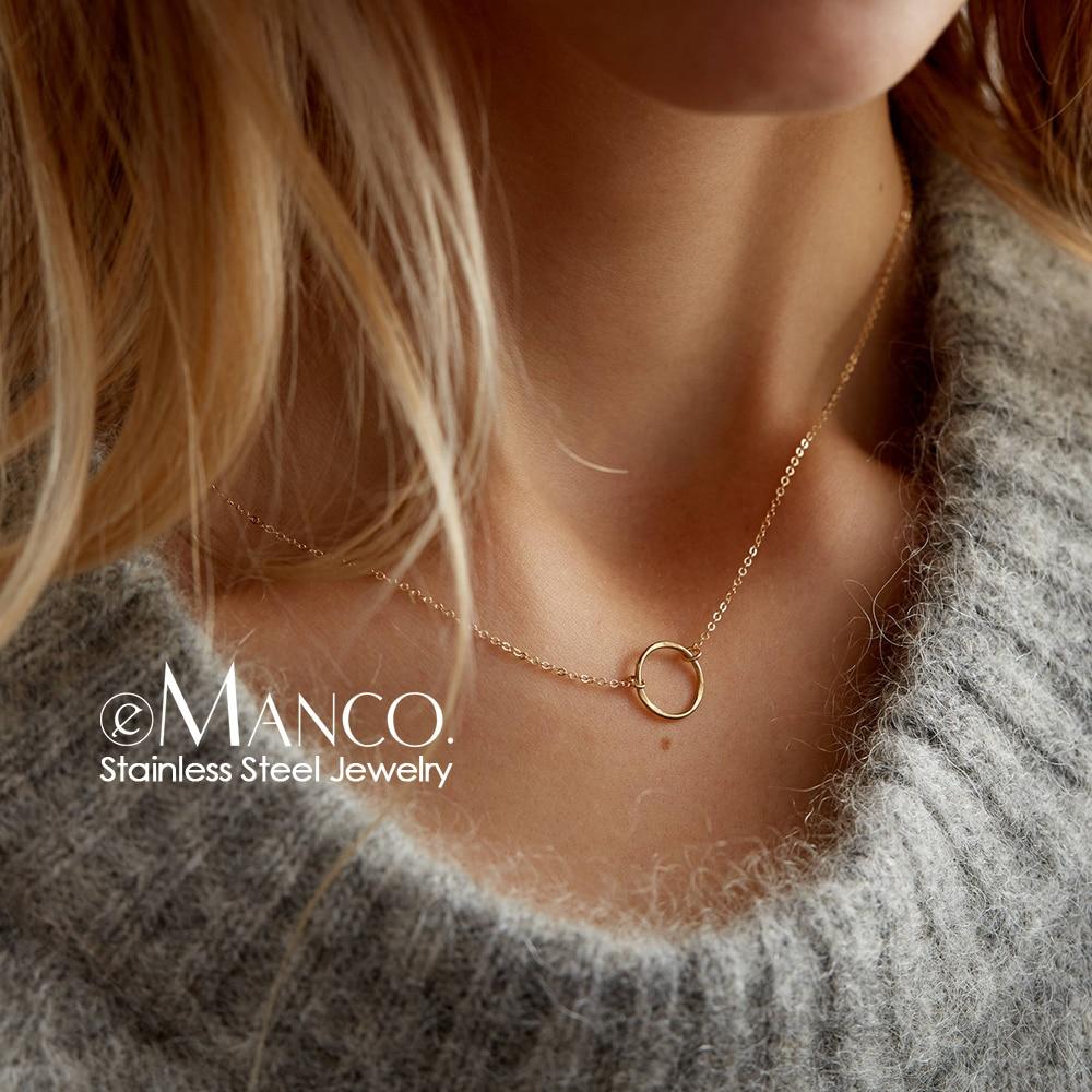 e-Manco statement necklace women dainty stainless steel necklace choker pendant necklace fashion jewelry