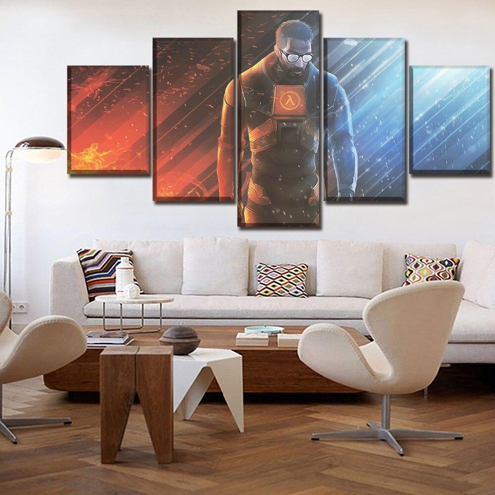 Arte moderno, decoración de pared para el hogar, juego de 5 piezas, cartel de media vida, lienzo, Impresión de arte, cuadros modulares, marco de pintura