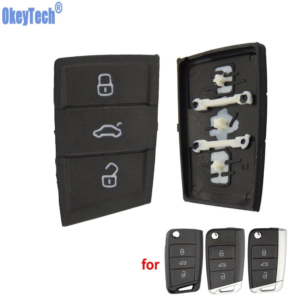 OkeyTech para coche almohadilla para botones de llaves reemplazos 3 botones para Volkswagen Golf 7 4 5 mk4 6 para Skoda Octavia plegable Flip Key Shell