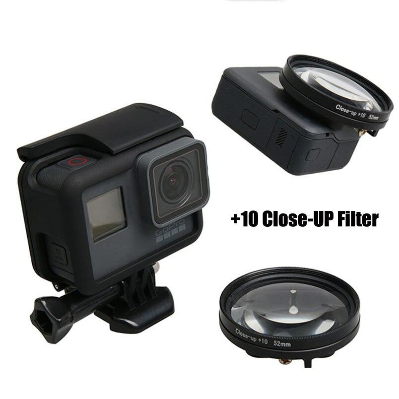 Filter close up +10 Macro + Lens Protector Cap + 52mm Adapter Ring Filtors Filtro for Go Pro Hero 5 6 7BLACK Accessories