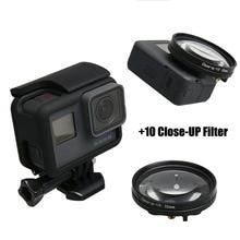 Filtro close up + Macro + Lente Cap Protetor + 52 10 milímetros Anel Adaptador Filtors Carro Filtro para Go Pro herói 5 6 7 PRETO Acessórios