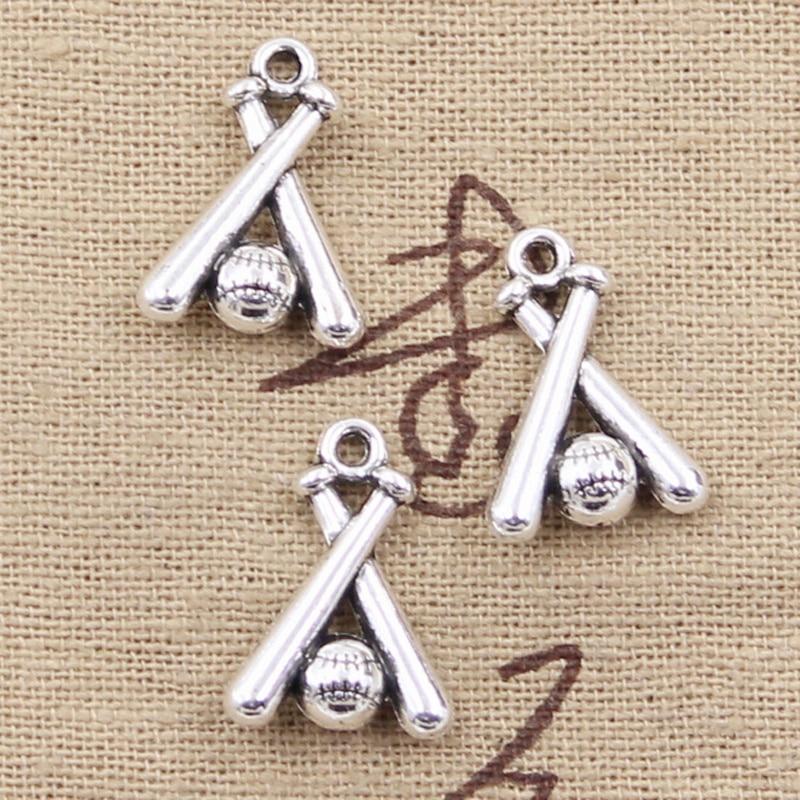 6pcs Charms Baseball Bat 19x13mm Antique Making Pendant fit,Vintage Tibetan Bronze Silver color,DIY Handmade Jewelry