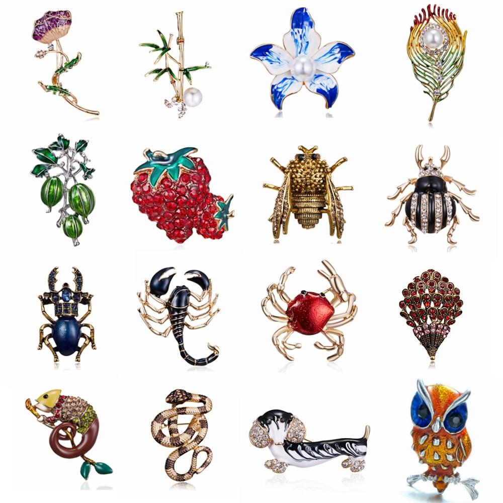 Rinhoo эмаль животное пчела, Жук змея Краб ящерица Сова собака цветок броши для женщин девушки булавки-брошки с кристаллами подарок