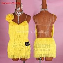 Nouveau femmes sur mesure robe de danse latine sexy sans manches gland strass jupes latine salsa chacha costumes standard