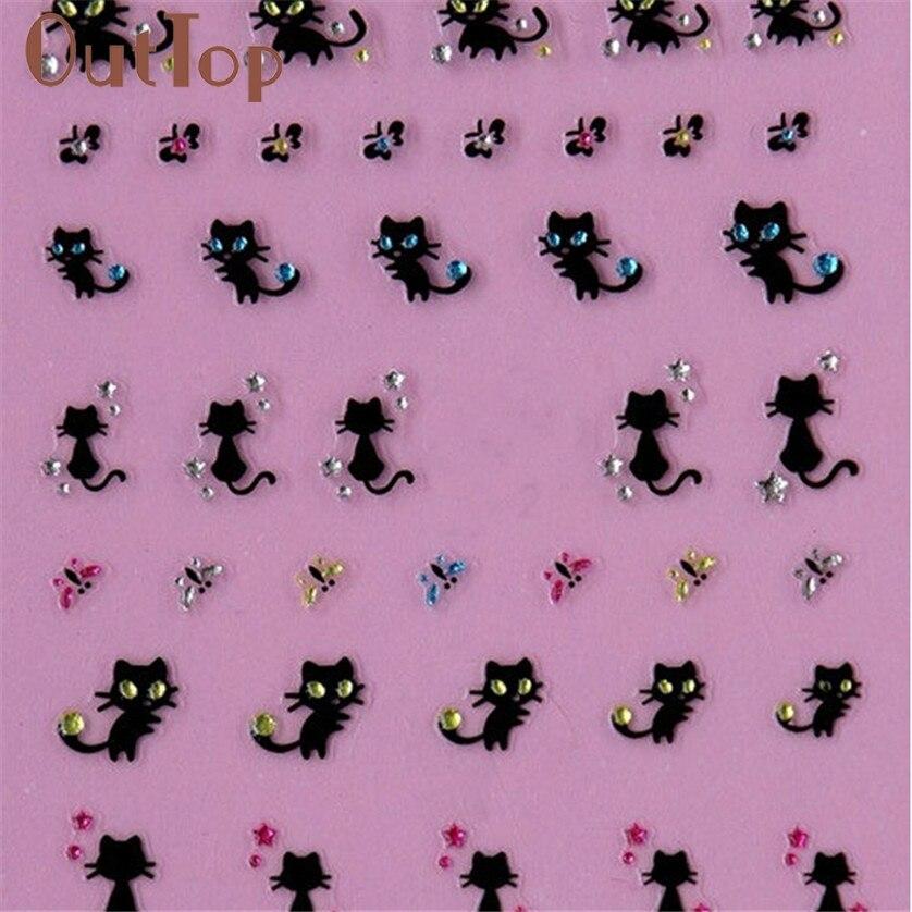 Arte do prego adesivos decalques decoração do prego diamante gato borboleta design july25