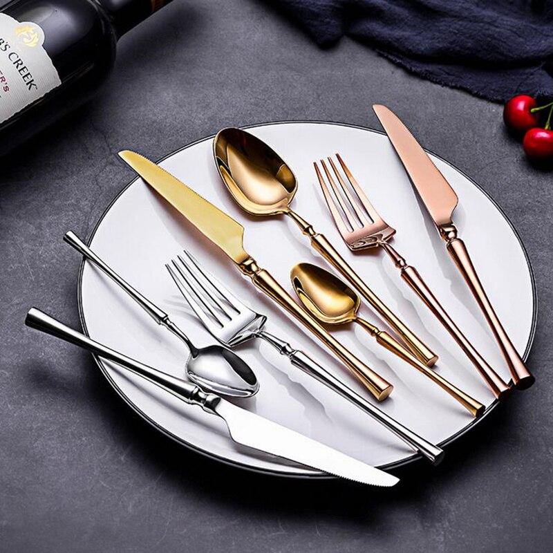 KuBac Hommi 24 Uds juego de vajilla de oro brillante 18/10 Acero inoxidable juego de cubiertos de oro espejo plata negro Rosa oro Envío Directo
