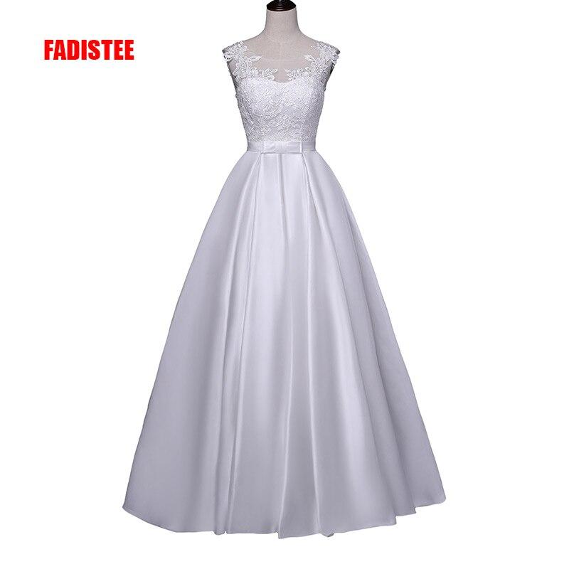 FADISTEE New arrival elegant wedding dress Vestido de Festa appliques backless A-line satin long lace style dress