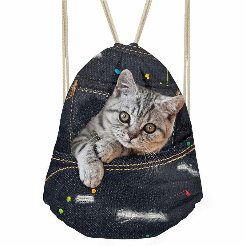 Bolso de moda ThiKin con cordón para mujer, bolso de almacenamiento con estampado de gato vaquero negro, bolsas de playa suaves, mochilas de sacos diarios para niños y niñas