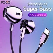 PZOZ USB Type C écouteurs basse filaire contrôle écouteurs avec mi crophone USB-C type-c téléphone portable pour Xiao mi Letv Huawei