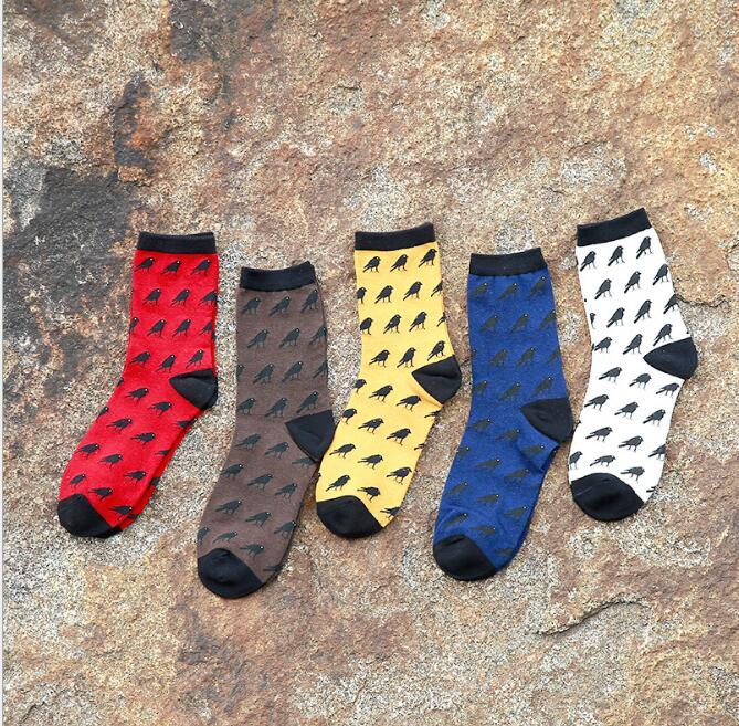 5 par/lote Calcetines lindos de Crow para Hombre Calcetines casuales de algodón de marca de moda Calcetines baratos Meias Calcetines para Hombre Cool Calcetines de colores para Hombre arte