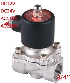 صمام الملف اللولبي الكهربائي VITON المقاوم للصدأ 2S200-20-V صمام الملف اللولبي المياه DC24V ، AC110V و AC220V الشحن المجاني 3/4