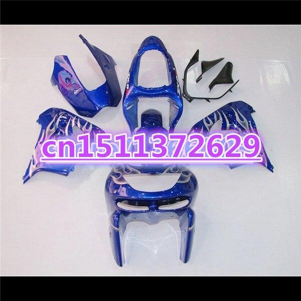 Bo kit carenagem da motocicleta para kawasaki ninja ZX-9R 00-01 zx9r prata chama azul zx 9r 00 01 2000 2001 carenagens conjunto
