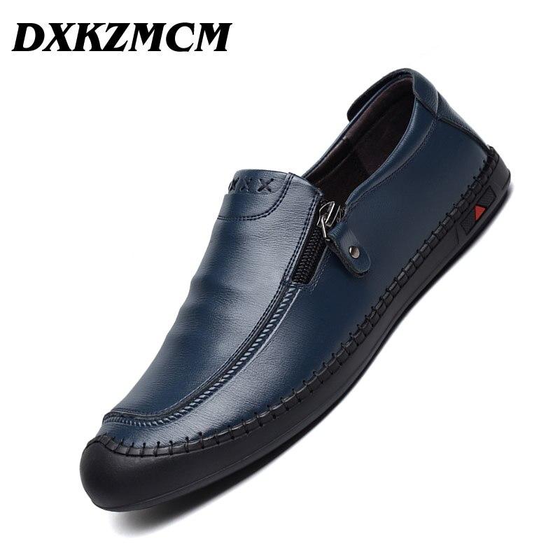 Homens Sapatos Casuais Marca De Luxo 2019 Dos Homens de Couro genuíno Mocassins Condução Sapatos Mocassins Deslizamento Respirável em Preto