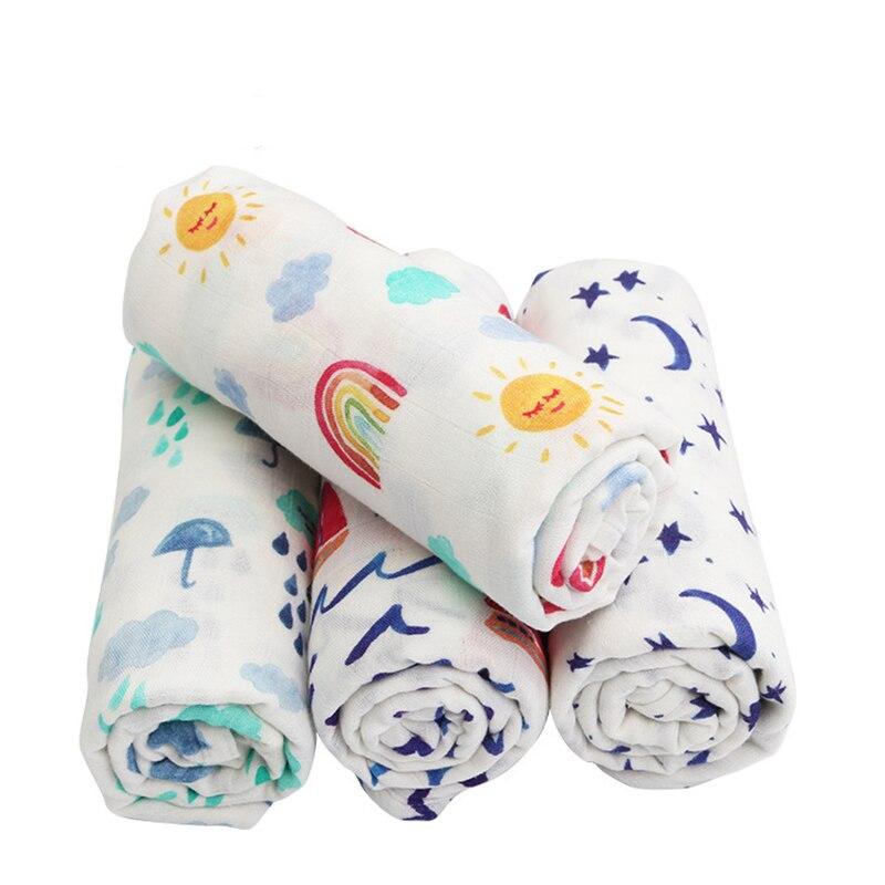 3pcs / lot 2018 Newest Bamboo Cotton Blanket Newborn Baby Swaddle Wrap Super Soft Crib Sleeping Blankets 120*120cm