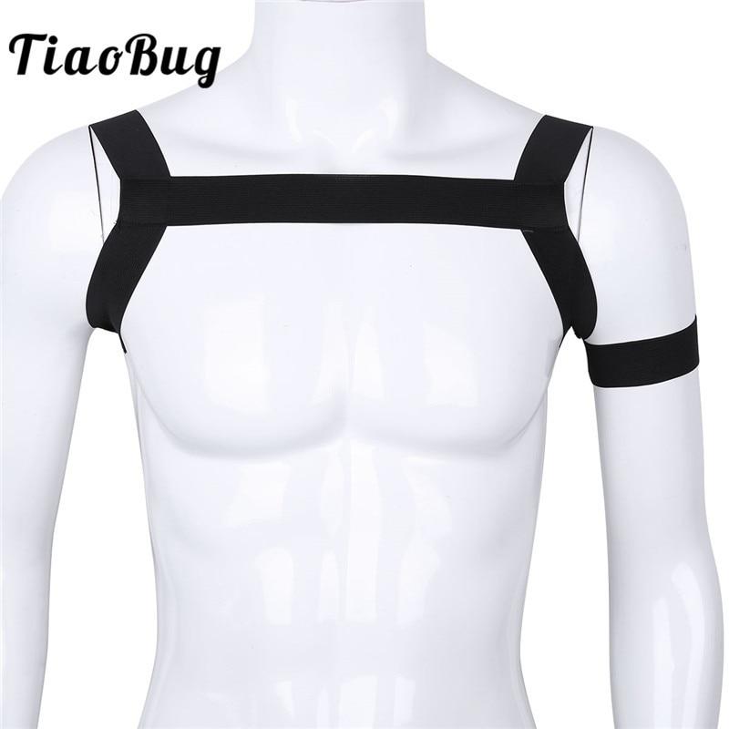 TiaoBug moda caliente correas elásticas Crop Top Sexy músculo cinturón de Bondage arnés corporal para el pecho hombres de lujo BDSM Bondage Clubwear traje