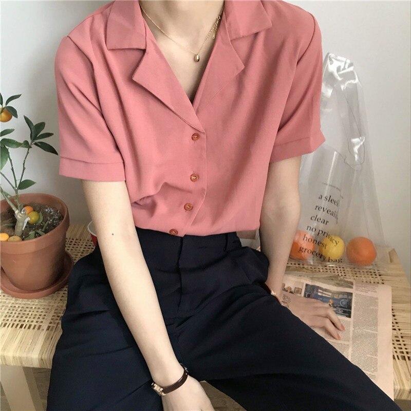 Bolsillo de oficina blanco camisa casual blusa de las mujeres de verano de manga larga otoño botón Tops sueltos 3 Color dentada Collar