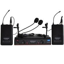 FREEBOSS KU-22H2 système de Microphone sans fil UHF DJ karaoké 2 revers 2 micro casque (2 transmetteur Bodypack)