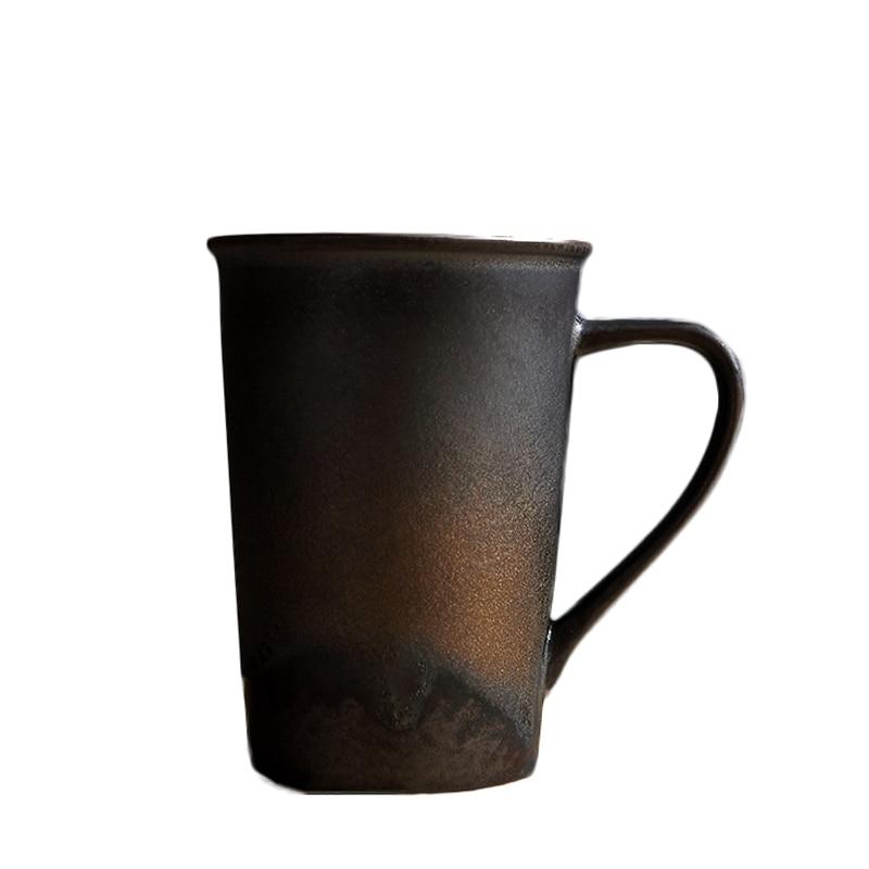 350ml preto zen estilo japonês caneca de cerâmica do vintage cerâmica grossa copo de café escritório mestre copo água leite drinkware artesanal