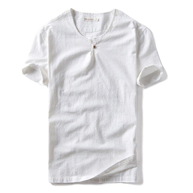 Camiseta de algodón de primavera y verano para hombre, camiseta informal recta de cuello redondo de manga corta de lino para hombre, camiseta de un botón, camisa masculina