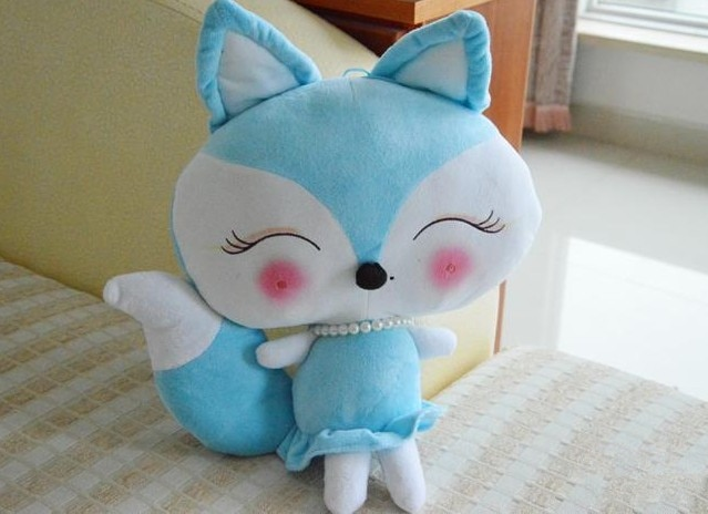 cartoon blue beauty fox plush toy large 50cm soft throw pillow Christmas gift h714