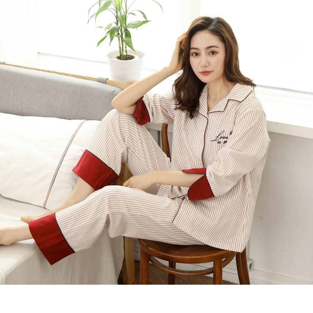 Postpartum mother Nursing Pajamas Set Cardigan+ Pants Cotton Expectant Mother Feeding Striped Sleepwear Pregnant Women Pajamas