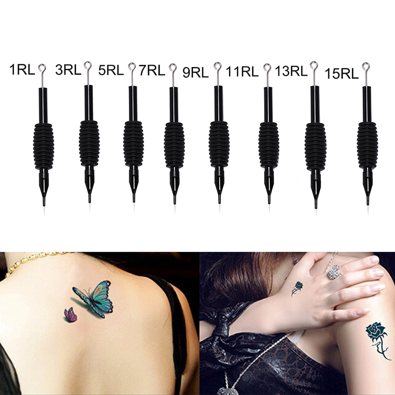 Disposable Tattoo Needles 1Pc Tattoo Grip With medical steel Needle 19mm Round Liner 1RL 3RL 5RL 7RL 9RL 11RL 13RL 15RL Black