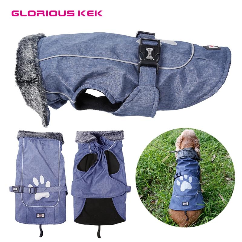 GLORIOUS KEK Dog Jacket Waterproof Winter/Spring Dog Clothes Adjustable Reflective Outdoor Sports Dog Coat for Medium Large Pets