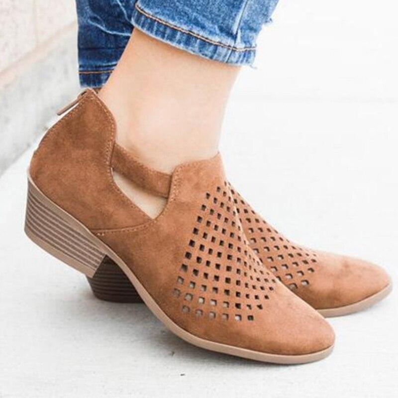 MCCKLE otoño zapatos de tacón bajo hueco Mujer Zapatos de tacón transpirables de la Mujer Zapatos casuales zapatos de moda de tacón grueso sólido calzado